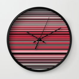 Vibrant red and monochrome abstract horizontal linework Wall Clock