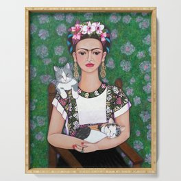 Frida cat lover Serving Tray