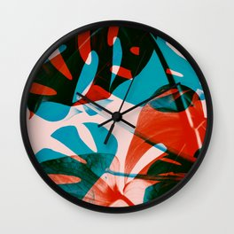 Monstera leaves, Orange, Coral, Blue, Trendy color Modern art Wall Clock