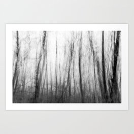 The haunting forest, black and white Art Print