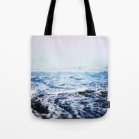 surf Tote Bags featuring Surf by Leah Flores