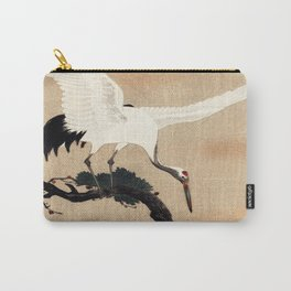 Crane Bird Branch Traditional Japanese Wildlife Carry-All Pouch