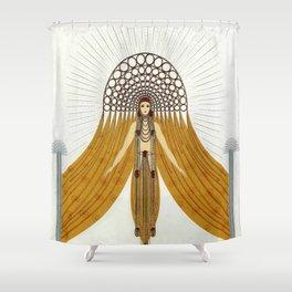"""Art Deco Oriental Design """"Café Foujita"""" Shower Curtain"""