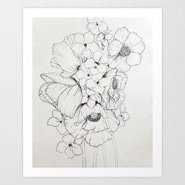White poppy and violet spray Art Print