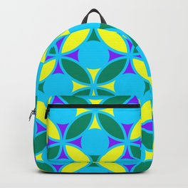 Geometric Floral Circles Vibrant Color Challenge In Bold Purple Yellow Green & Turquoise Blue Backpack