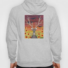 white tailed deer, bats, black eyed susans Hoody