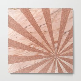 Rose gold sunburst Metal Print