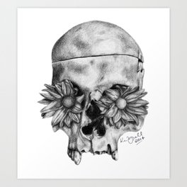 Skull and Flowers Drawing Art Print