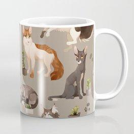 Cat and Cacti Pattern Coffee Mug