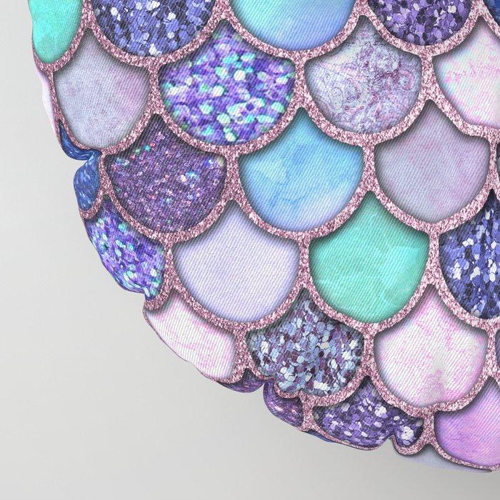 Colorful Pink & Purple Watercolor & Glitter Mermaid Scales Floor Pillow