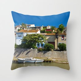 old houses on the canal du midi, france 4 Throw Pillow