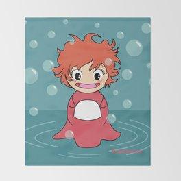 Kokeshi Ponyo Throw Blanket