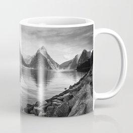 Milford Sound Panorama in black and white Coffee Mug