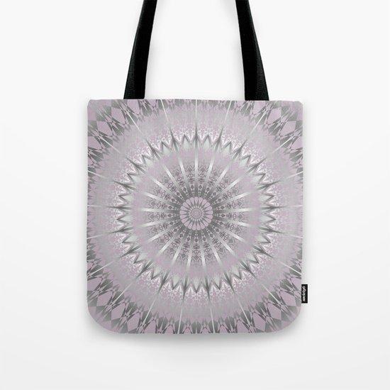 Mauve Silver Mandala Tote Bag