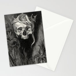 Skull Crowned with Snakes and Flowers by Henry Weston Keen Stationery Cards