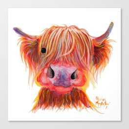 Scottish Highland Cow ' CHILLI CHOPS ' by Shirley MacArthur Canvas Print
