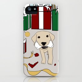 Yellow Lab Puppy At Christmas iPhone Case
