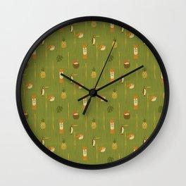 Kitschy Tiki Pattern Wall Clock