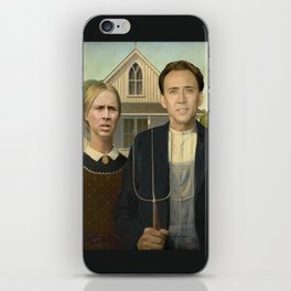 American Gothic Nicholas Cage Face Swap iPhone Skin