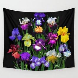 Iris Garden - on black Wall Tapestry