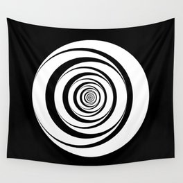 Black White Circles Optical Illusion Wall Tapestry