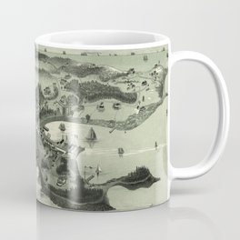 Vintage Pictorial Map of Woods Hole Falmouth MA (1887) Coffee Mug