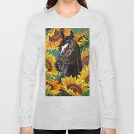 Horse with Sunflowers Long Sleeve T-shirt