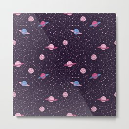 Pink Constellations and Planets Pattern Metal Print