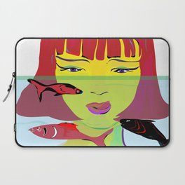 """Redhead Worry"" Paulette Lust's Original, Contemporary, Whimsical, Colorful Art Laptop Sleeve"