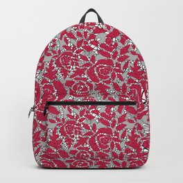 Red grey lace lace Backpack
