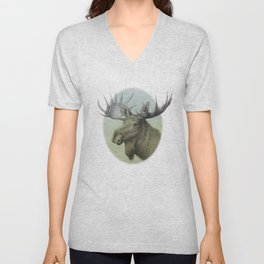 Moose head elk Unisex V-Neck