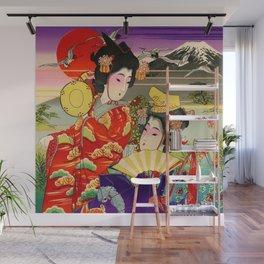 Geishas with Mt. Fuji Wall Mural
