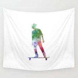 Man skateboard 08 in watercolor Wall Tapestry