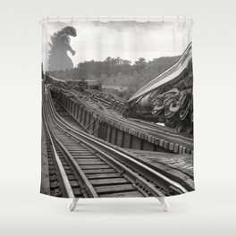 Washington D.C. Anacostia Bridge 1933 Godzilla Encounter Shower Curtain