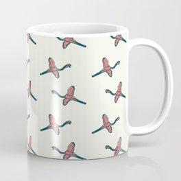 Pink Flamingo watercolor pattern beige Coffee Mug
