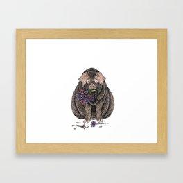 Pig with Flowers Framed Art Print