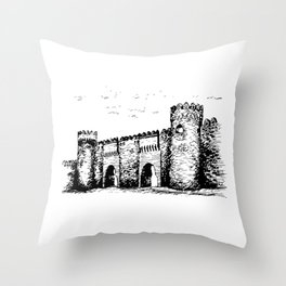 Old Tower Gate Ink Art Throw Pillow