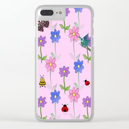 Pink Nature Clear iPhone Case
