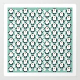 NGWINI - penguin love pattern 7 Art Print