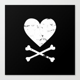 Heart and Crossbones - White Canvas Print