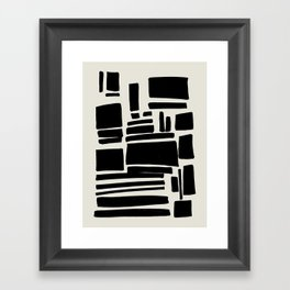 Black & White Minimalist Abstract Shapes Patterns Black Ink Painting Framed Art Print