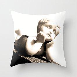 White Sculpture of Child Boy Throw Pillow
