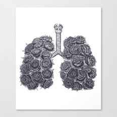 Lungs with peonies Canvas Print