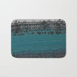 Teal and Gray Abstract Bath Mat