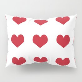 Hearts pattern red and white minimal modern essential valentines day gifts for anyone love Pillow Sham