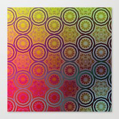 Pink, Purple, Yellow, and Orange Circles and Cogs Canvas Print