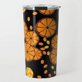 Black and orange pattern . Travel Mug