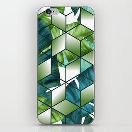 Tropical Cubic Effect Banana Leaves Design iPhone Skin