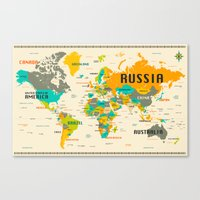 map Canvas Prints featuring WORLD MAP by Jazzberry Blue
