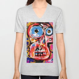 Art brut outsider underground graffiti portrait Unisex V-Neck